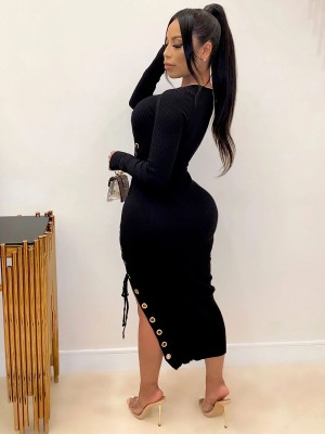 Black Round Collar Hollow Out Bodycon Dress Ultra Sexy