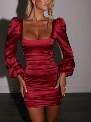 Wine Red Long Sleeve Ruched Bodycon Dress Backless Outdoor