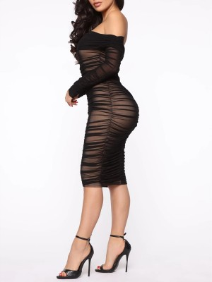 Black Bodycon Dress Off Shoulder Sheer Mesh Ladies Grace