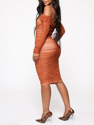 Orange Pleated Zipper Midi Length Bodycon Dress Fashion