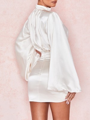 White Mini Dress Ruched Zipper Irregular Hem Bodycon Fit