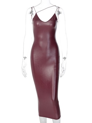 Wine Red Maxi Length Stretch Sling Bodycon Dress Smooth