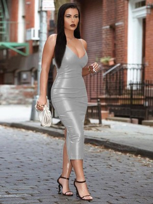 Silver Irregular Strap Zipper Leather Bodycon Dress Elastic Material