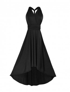 Gorgeously High-Low Hem Black V Neck Multi-Wear Evening Dress Pullover