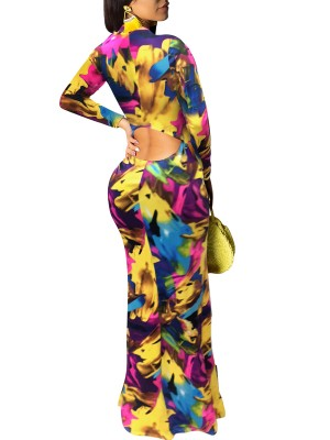 Causal Yellow Hollow Out Back Graffiti Evening Dress Fashion Trend
