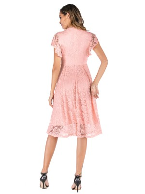 Dainty Pink Lace V Neck Evening Dress Solid Color For Work