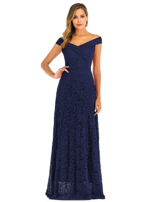 Refresh Purplish Blue Floor-Length Lace Zip Evening Dress Good Elasticity