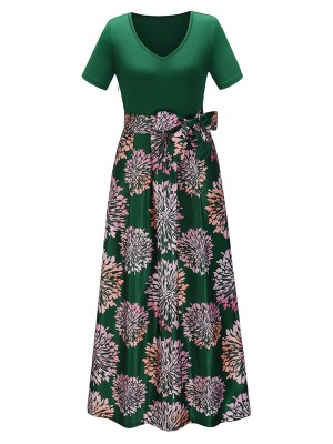 Eye-Appealing Green Splice V-Neck Evening Dress Bowknot