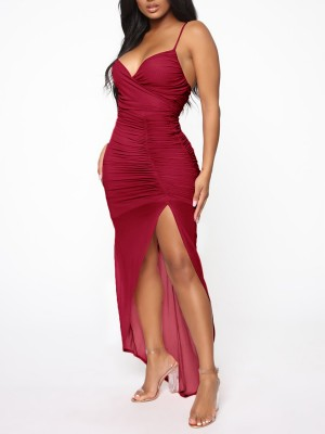 Dreamy Wine Red Sling Ruched Evening Dress High Split Ultra Hot