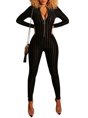 Eye Catch Black Hollow Out Full Length Jumpsuit Leisure Time