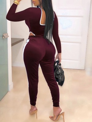 Square Neck Wine Red Zipper Drawstring Colorblock Jumpsuit Modern Fashion