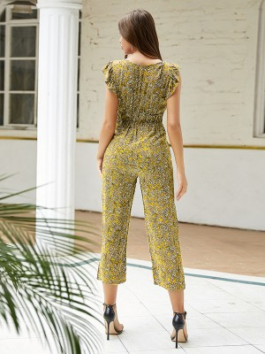 Exquisite Yellow Jumpsuit Floral Print Button Front Charming