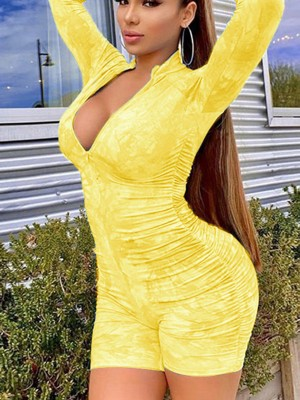 Fabulous Fit Yellow Full Sleeves Romper Zipper Tie-Dye Outdoor
