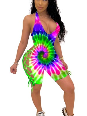 Eye-Catching Tie-Dyed Printed Hollow Out Jumpsuit Form Fit
