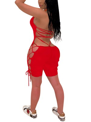 Fitted Red Backless Jumpsuit Halter Neck Tie Ultra Hot