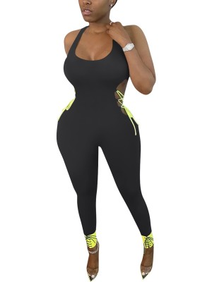 Contouring Sensation Black Contrast Color Ankle Length Jumpsuit
