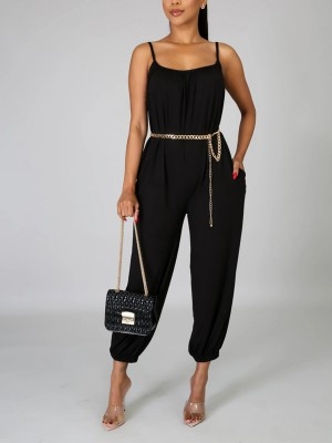 Angel Black Solid Color Romper Ankle Length For Beauty