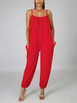 Lovely Red Sling Side Pockets Ruched Jumpsuit Classic Fashion