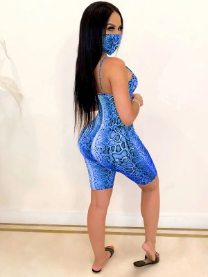 Spectacular Blue Jumpsuit With Mask Slender Strap Feminine Fashion
