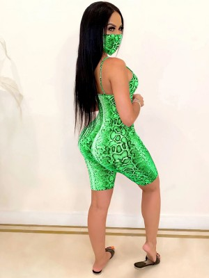 Retro Green Mask Jumpsuit Backless Thigh Length Outfits