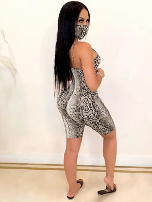Remarkable Gray Square Neck Serpentine Print Jumpsuit Casual Women