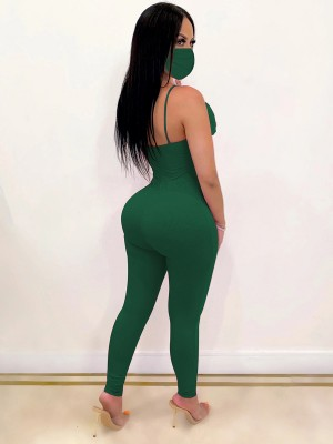Absorbing Green High Waist Cut Out Jumpsuit Backless Form Fitting