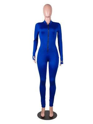 Excellent Blue Full Length Zipper Bodycon Jumpsuits Ladies Elegance