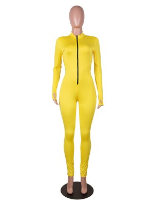 Charming Yellow Tight Jumpsuit Mock Neck Solid Color For Women
