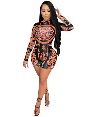 Orange Full Sleeve Mock Neck Romper With Zipper Eye Catcher