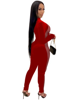 Red Side Mesh Splicing Jumpsuit Mock Neck Sexy Fashion