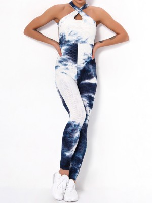 Dark Blue Tie-Dyed Ankle Length Sleeveless Jumpsuit Women