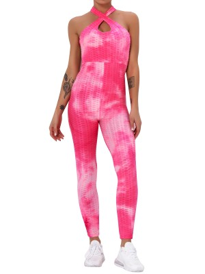 Pink Criss-Cross High Rise Tie-Dyed Romper Ultra Cheap