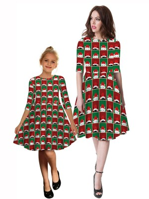 Close Fitting Mom Kid Dress Midi Length Christmas Paint Seamless