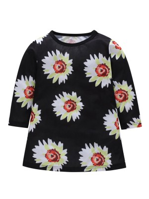 Flowing Kid Dress Floral Print Round Neck Natural Women Fashion