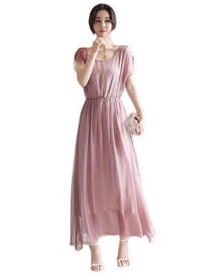 Bewitching Pink Mesh Maxi Dress Round Neck High Rise Sexy