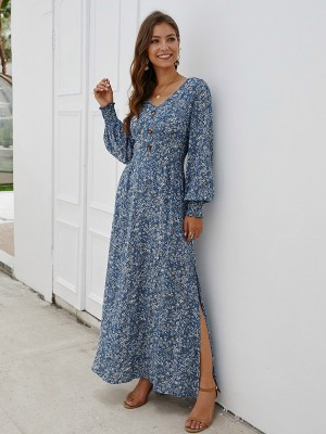 Excellent Blue V Neck Slit Maxi Dress Long Sleeves Weekend Time