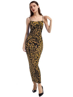 Comfy Brown Leopard Paint Maxi Dress Open Back Natural Women Fashion