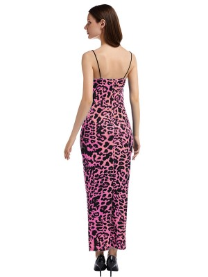 Extraordinary Pink Spaghetti Straps Big Size Maxi Dress Chic Fashion