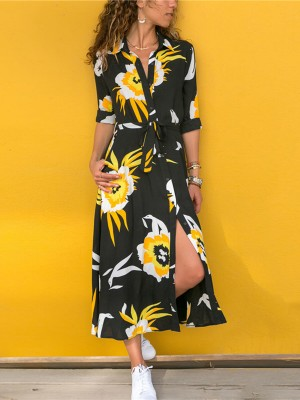 Daring Flower Pattern Maxi Dress Large Size For Every Occasion