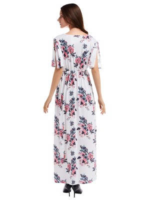Vintage White Deep V Neck Slit Flower Maxi Dress Super Sexy