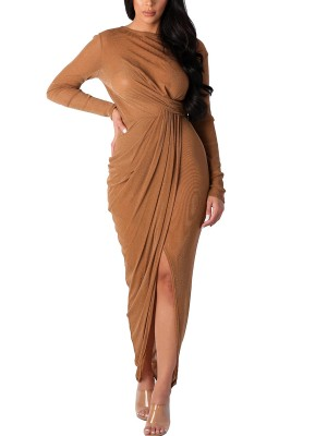 Amazing Khaki High-Low Hem Pleated Maxi Dress Fashion Sale