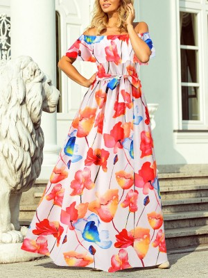 Eye-Appealing White Off Shoulder Maxi Dress Floral Print