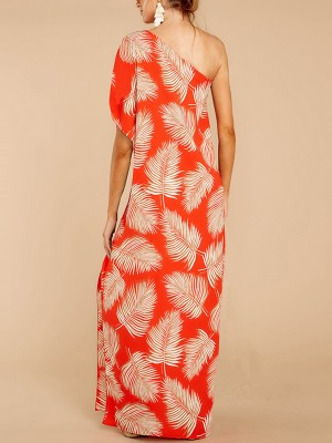 Slimming Split Maxi Dress Sloping Shoulder At Great Prices‎