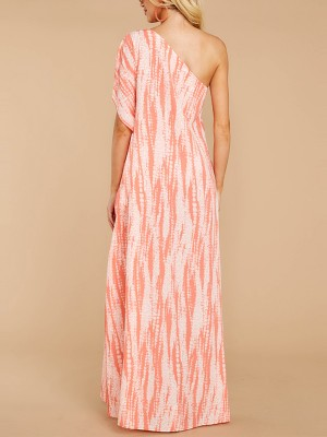 Loose Fitting Pink Sloping Shoulder High Slit Maxi Dress