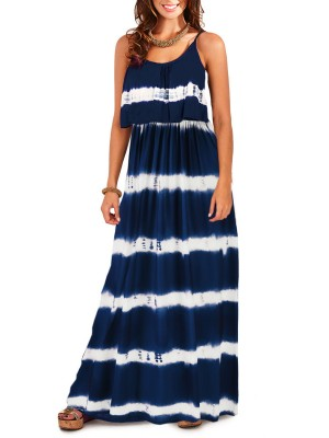 Royal Blue Stripe Maxi Dress Ruched High Waist Natural Outfit
