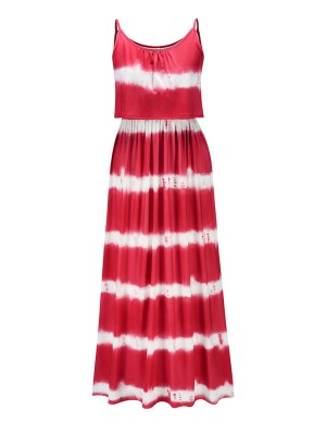 Flowery Red Sling Stripes Tie-Dyed Long Dress Sexy Fashion