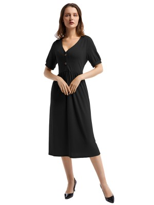 Gracious Black V Neck Ruched Midi Dress Short Sleeve Stretch