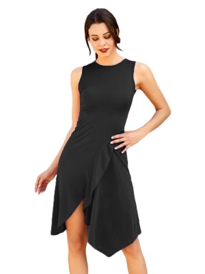 Cheeky Black Round Collar Irregular Hem Midi Dress Heartbreaker