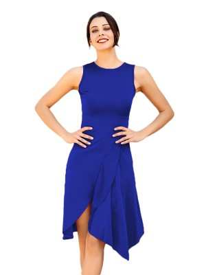 Striking Blue Sleeveless Ruffled Midi Dress Plain Leisure Time