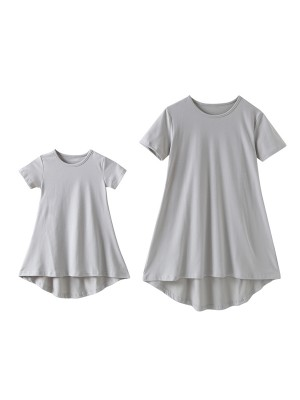 Irresistible Gray Round Collar Mom Kid Dress Plain Soft